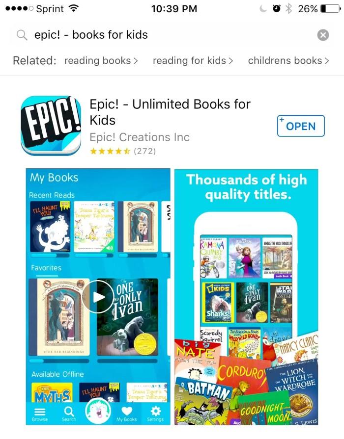 Epic! reading app for kids