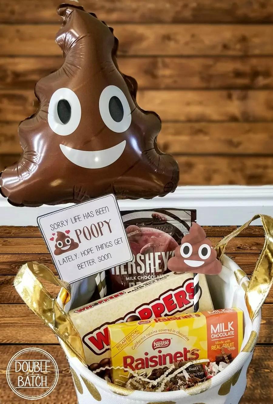 Poop Emoji Gift Basket and Free Gift Tags