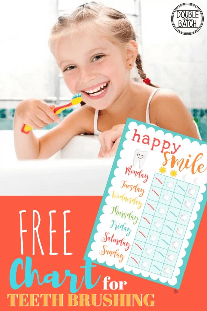 TEETH BRUSHING CHART FOR KIDS-FREE PRINTABLE