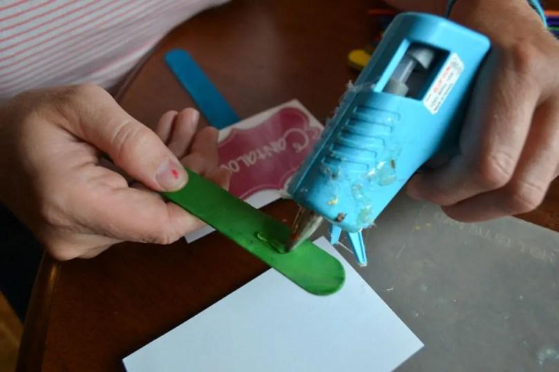 glue gun, garden labels