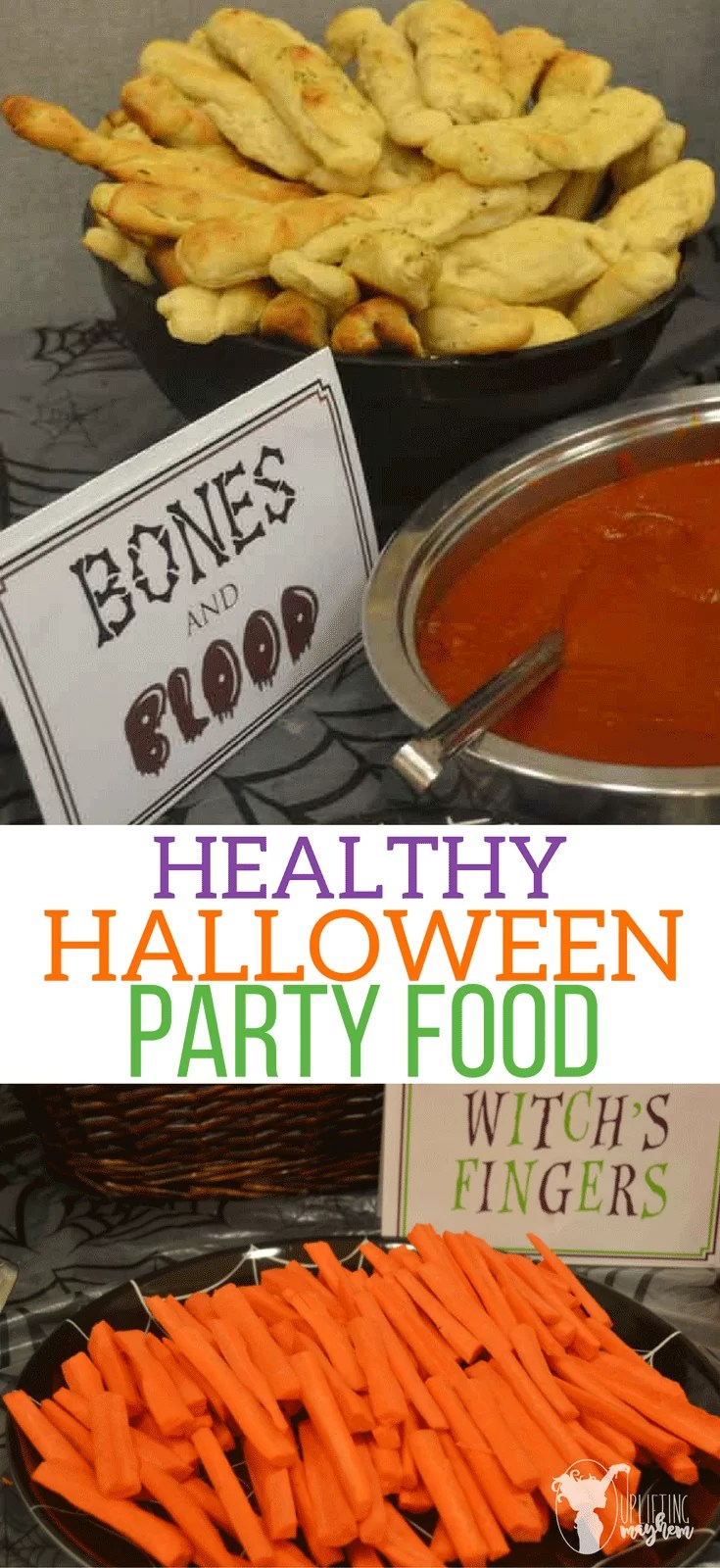 Healthy and spooky foods for Halloween Parties! Such fun and delicious ideas your guests will love! Embellish your table with adorable FREE PRINTABLE labels like witches fingers for carrots and bones and blood for bread sticks and marinara sauce!