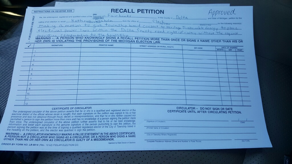 Recall petition