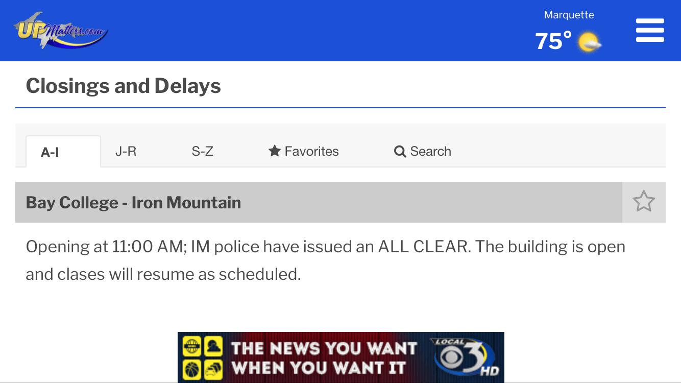 Bay College West - lockdown