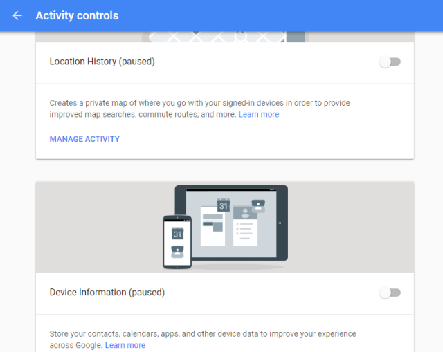 Google MyActivity Controls