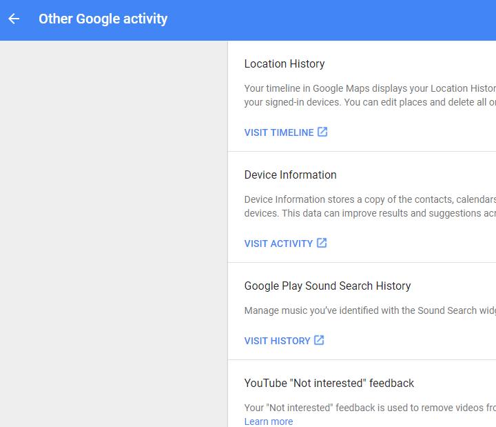 Google MyActivity's Other Google activity Listing