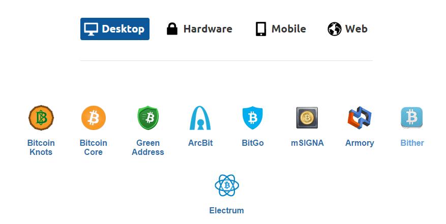 Bitcoin wallet options