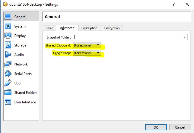 Shared clipboard settings