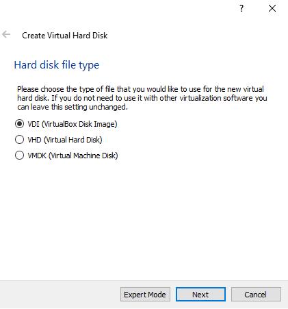 Choose Hard disk file type