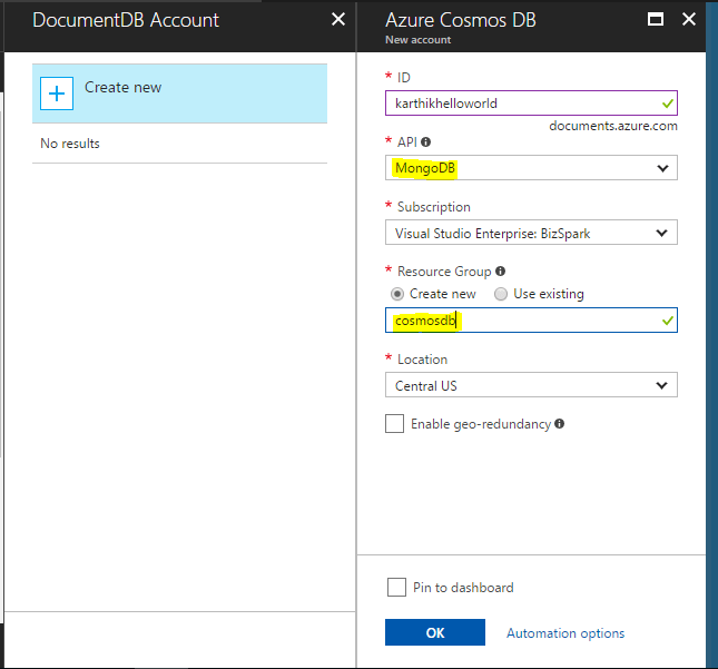 Create new Azure Cosmos DB