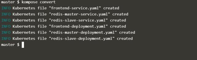 Use Kompose convert command to convert docker compose files