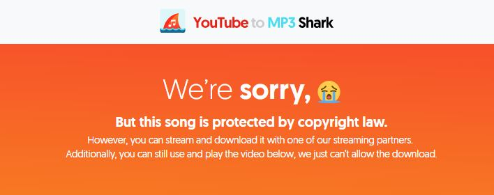 YoutubeToMP3shark blocks copyrighted content
