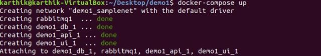 Start containers using docker-compose up command