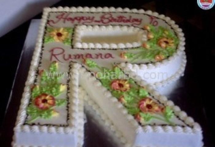Send Birthday Cake To Bangladesh Single Letter Shape Cake With