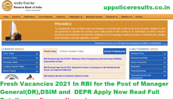 Fresh Vacancies 2021 In RBI for the Post of Manager General(DR),DSIM and DEPR Apply Now Read Full Details