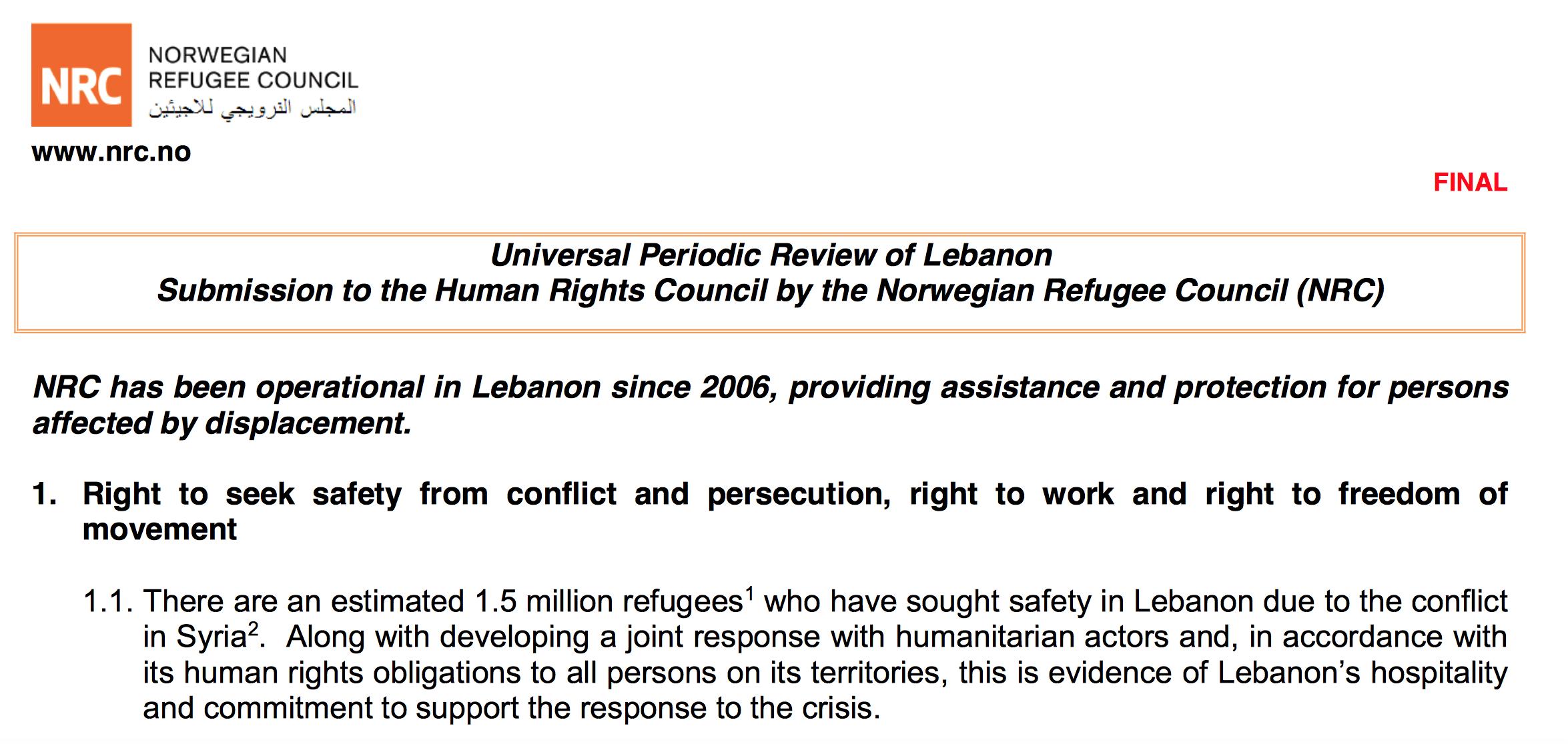 تقرير المجلس النرويجي للاجئين الى الاستعراض الدوري الشامل ٢٠١٥