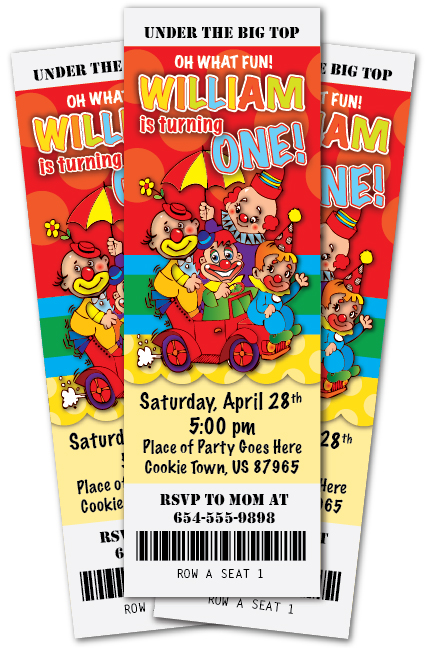 details about circus clown 1st birthday party invitation ticket stub baby shower under big top