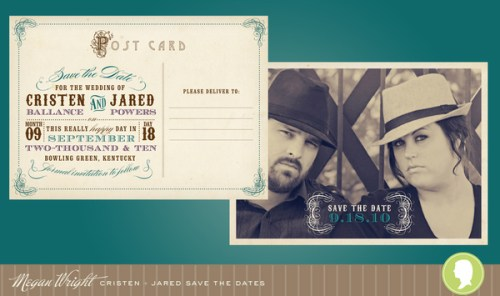 western theme save the date postcard