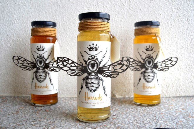 Harrods honey jar labels