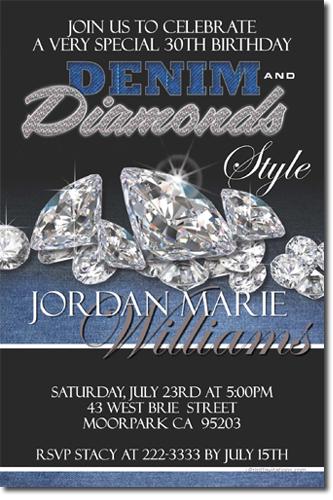 Denim And Diamonds Party Invitations