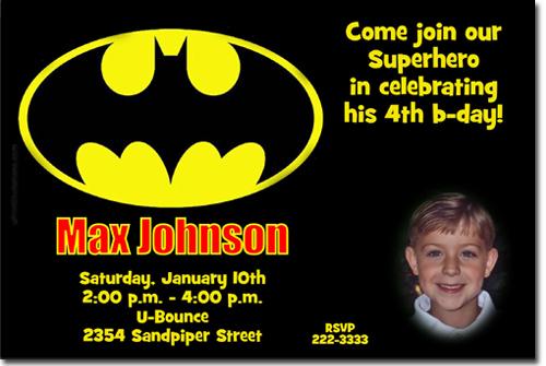 Batman Birthday Invitations Super Hero