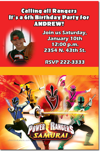 Power Rangers Ninja Steel Birthday Invitations Candy Wrappers Thank You Cards Candy Bag Labels