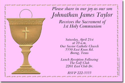 communion invitations candy wrappers