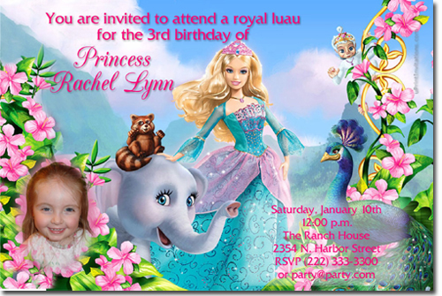 barbie birthday invitations candy