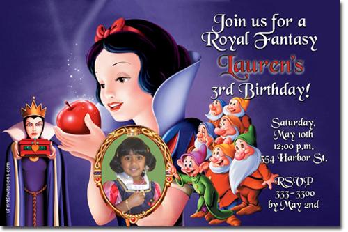 Snow White Birthday Invitations Evil Queen Birthday Invitations