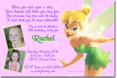 fairies birthday invitations candy
