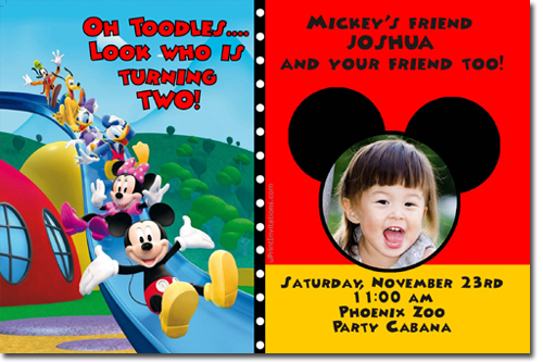Mickey Mouse Birthday Invitations Candy Wrappers Thank You Cards Candy Bag Labels