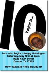 10th birthday invitation for boy