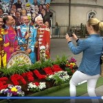 Fan photographing Sergeant Pepper Stand in Dublin made by Just Print.ie