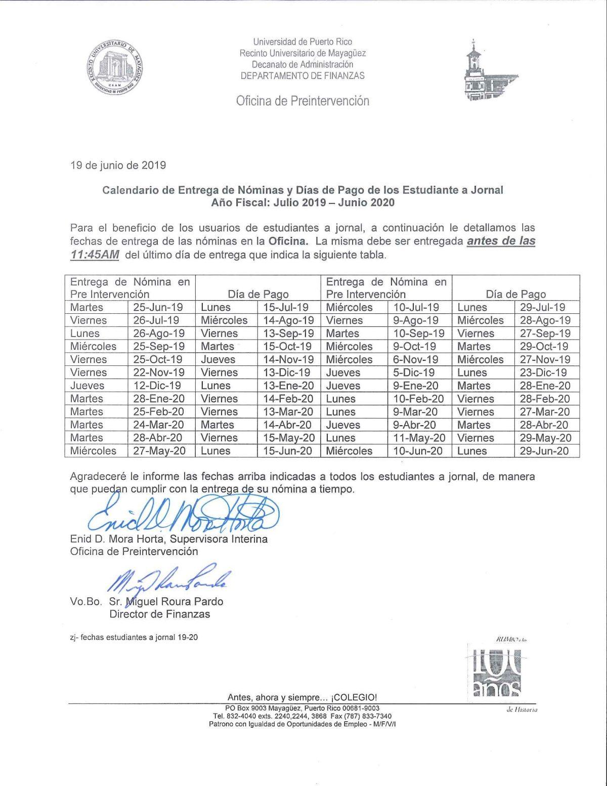 Calendario Junio Julio 2020.Calendario De Entregas De Nomina Y Dias De Pago Julio 2019 Junio