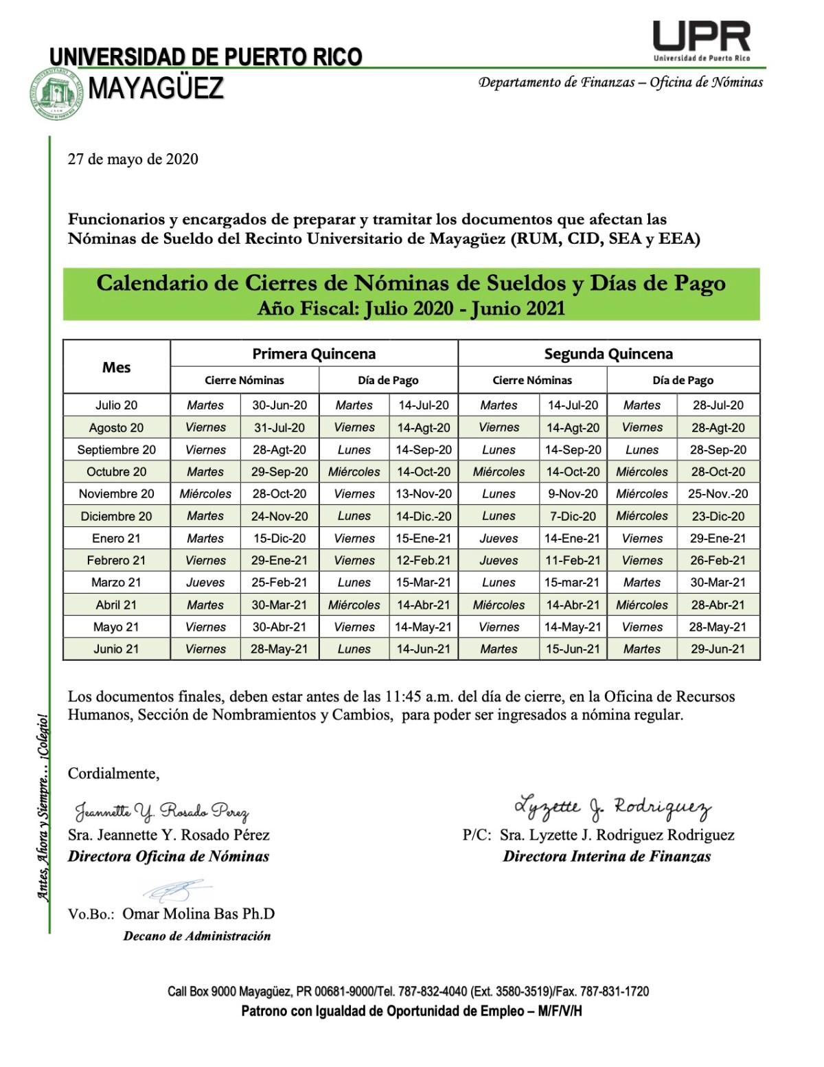calendario nominas 2020-2021
