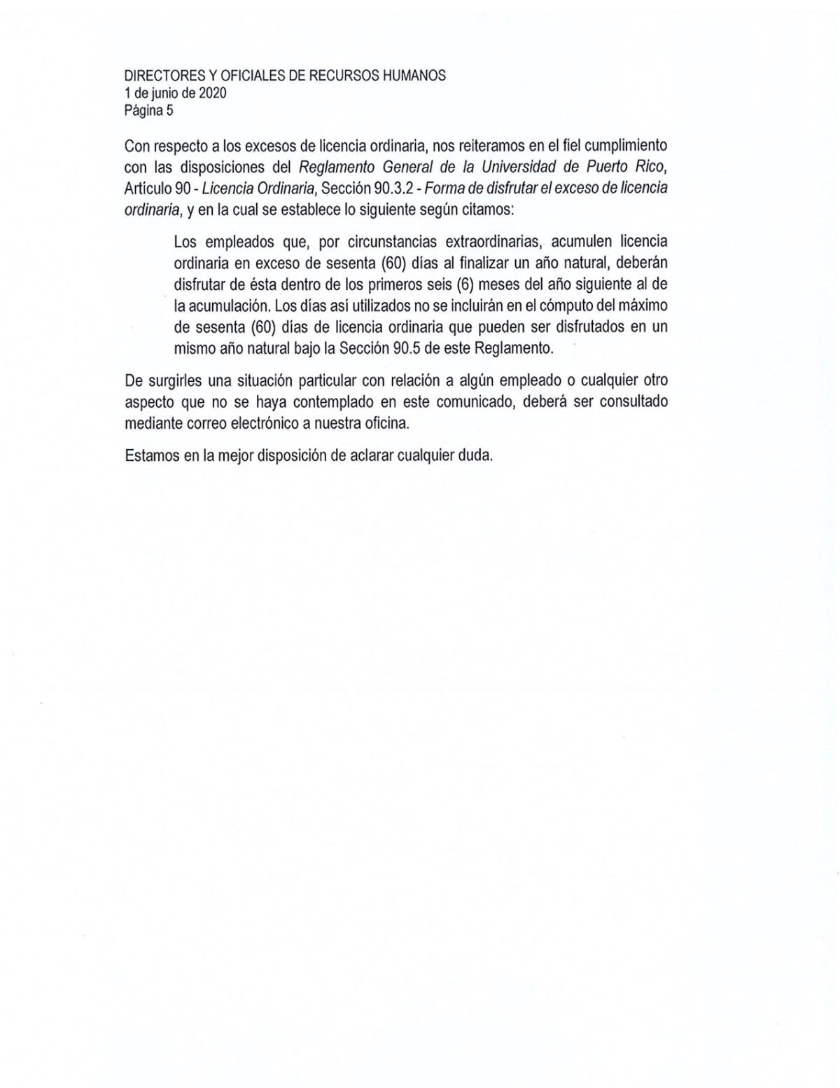circular adm central reinicio labores presenciales UPR-5
