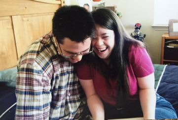 Mark and Leah, seeing each other for the first time in months at his apartment in Texas.