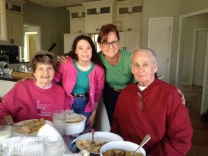 Grandpa and Grandma Bea came to our house for Easter dinner!