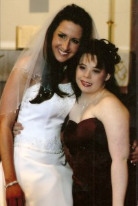 Beautiful at any size, but so much healthier after establishing a balanced diet that works for her. This was in 2005 at our sister Megan's wedding!