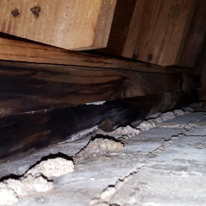 Water penetration around a chimney in the attic.
