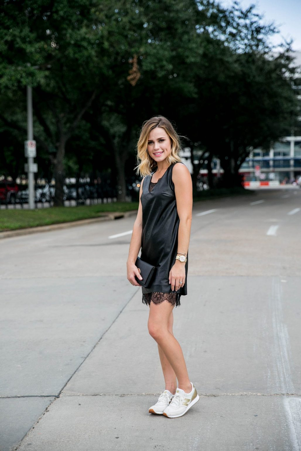 JOA leather dress with sneakers outfit