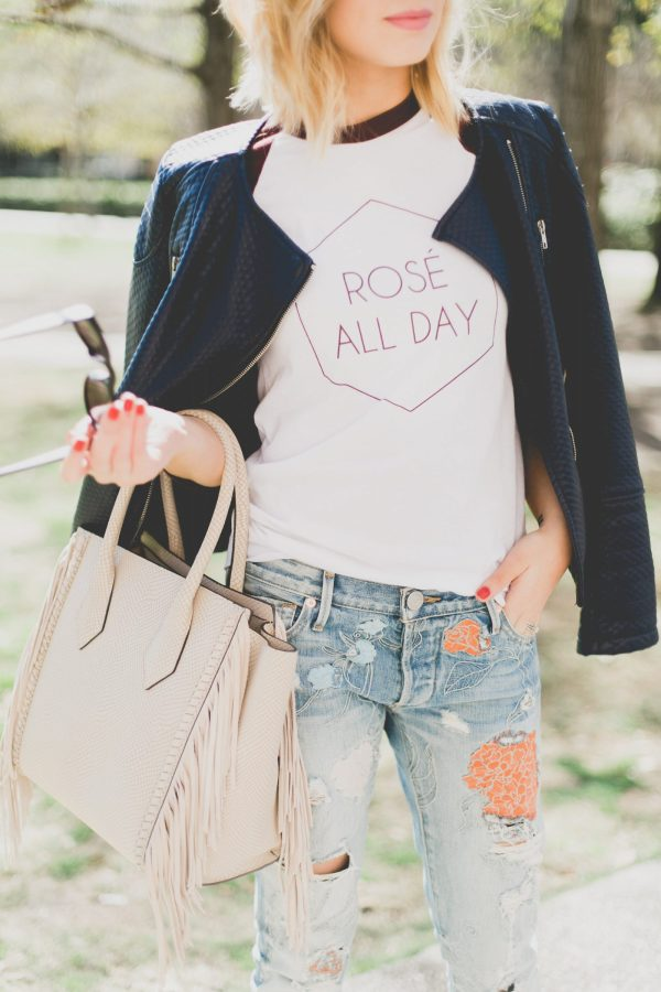 street style - Graphic tee and floral denim