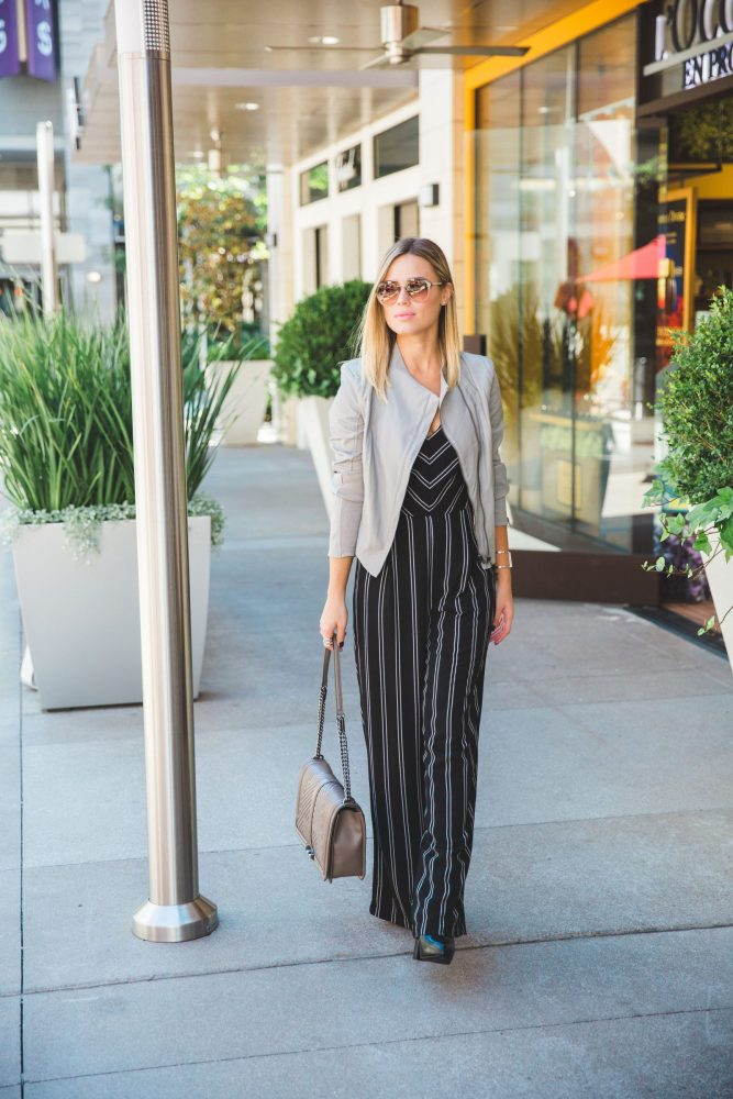 Jumpsuit for the fall | Fall look | Grey Leather Jacket | Leather Jacket look | Uptown with Elly Brown