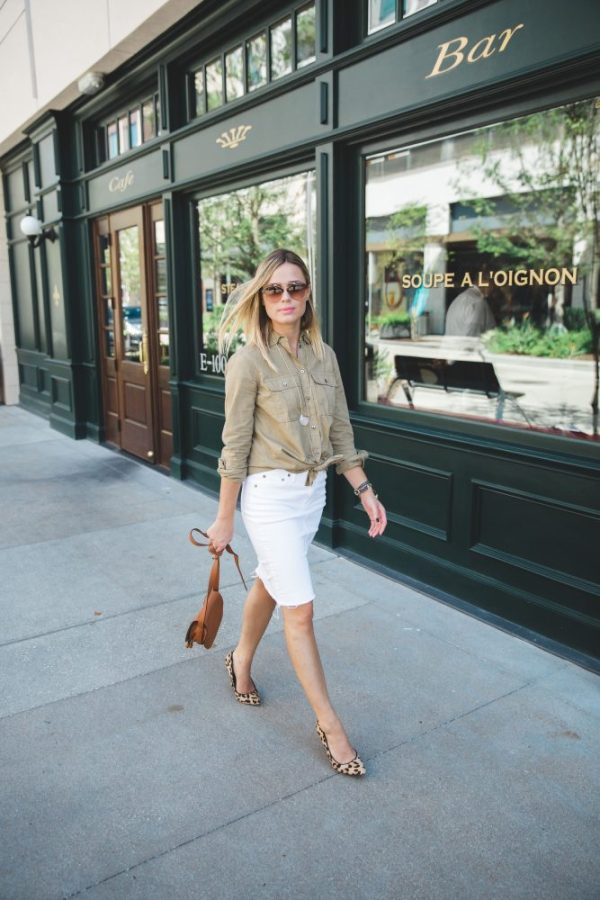Debunking Fashion Myths (like white after Labor Day) and why you should ignore them | Denim White Skirt | Fall outfit | Uptown with Elly Brown