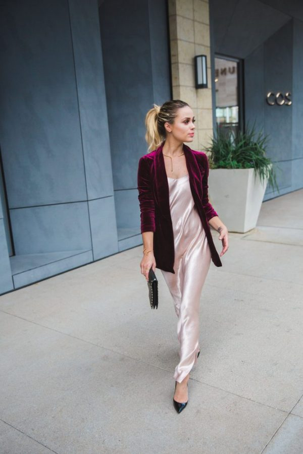 Lauren Conrad Runway Collection | Velvet Blazer | Silk Dress | Uptown with Elly Brown