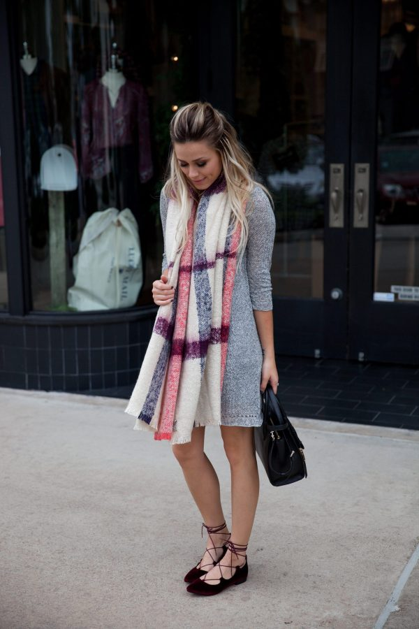 Sweater dress look | Oversized scarf outfit | Date night look | Uptown with Elly Brown
