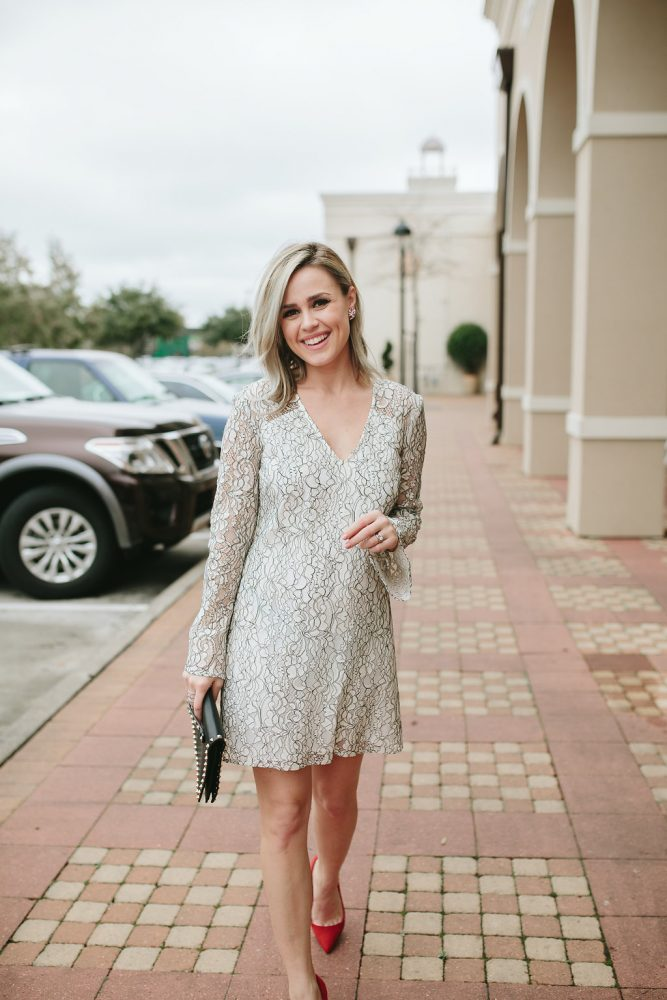 Valentines Day outfit | Romantic dress | Date night outfit | Bell sleeve dress | Maternity outfit | Uptown with Elly Brown