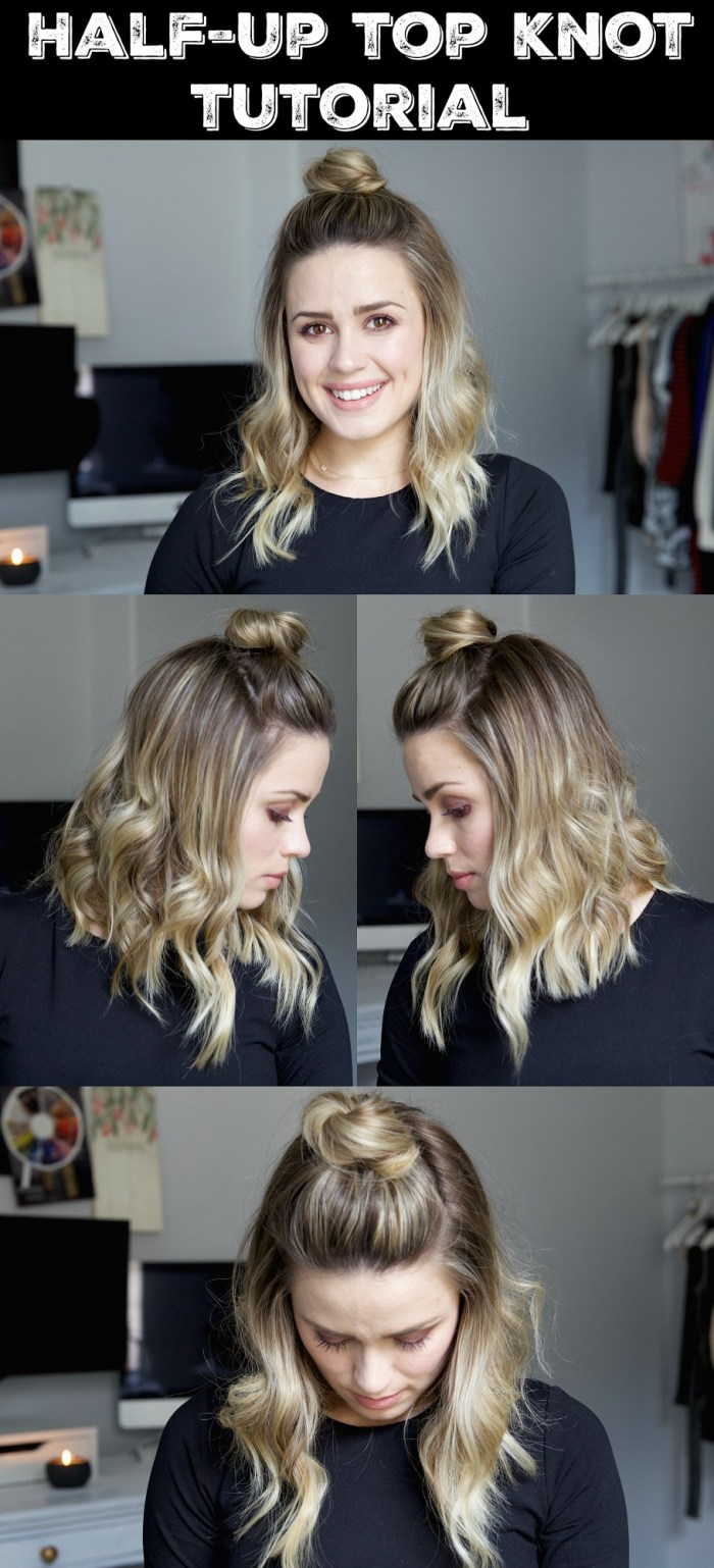 Half Up Top Knot Tutorial | Short Hair | Short hair tutorial | Wavy hair tutorial