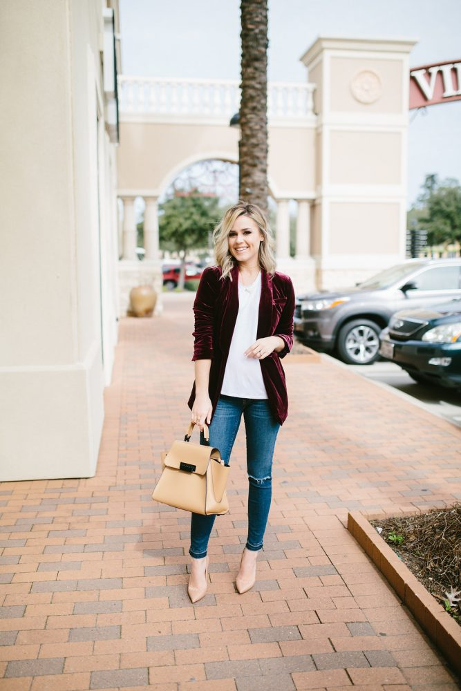 Velvet Blazer   Casual chic outfit   Street Style outfit   Uptown with Elly Brown