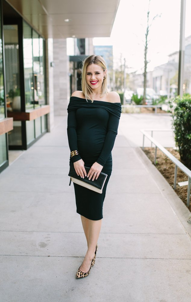 Off the shoulder maternity dress | Maternity dress | Maternity outfits | Seraphine Maternity | Uptown with Elly Brown
