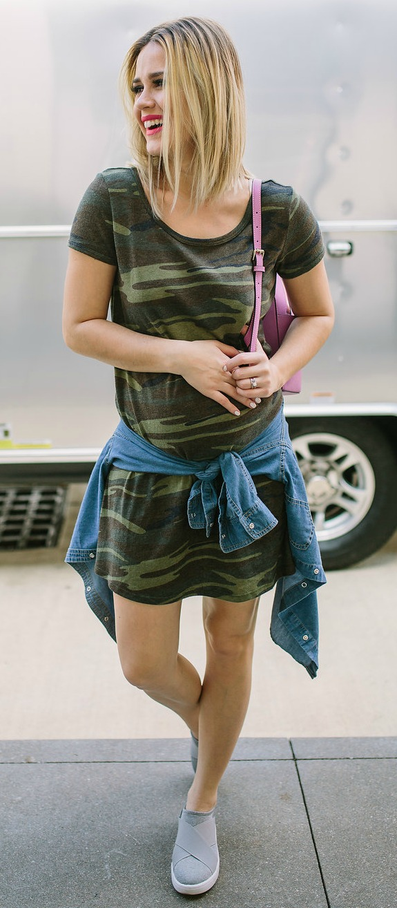 Maternity outfit | Swing Dress | Casual Spring outfit | Camo Dress | Uptown with Elly Brown